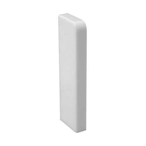 Trevendo® Endkappe links für Sockelleiste weiß 58mm TOP MDF Fußleisten für Vinyl Laminat Parkett