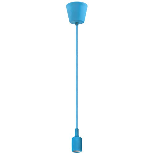 (Bunte Silikon Pendellampe Hängelampe Höhenverstellbar Hellblau mit Lampenfassung E27 Edison für Esszimmerlampe Esstischlampe Kinderlampe DIY Dekorative Beleuchtung- Maximale Höhe 104CM von Enuotek)