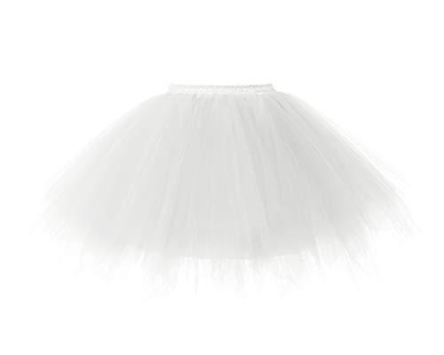 bridesmay Tutu Damenrock Tüllrock 50er Kurz Ballet Tanzkleid Unterkleid Cosplay Crinoline Petticoat für Rockabilly Kleid Ivory L