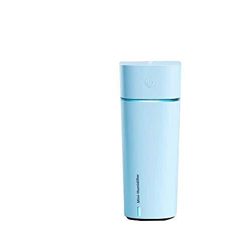 Bravoy 3 in 1 Mini Smart Luftbefeuchter - Nebelmaschine + Frischluft Mini Lüfter + kleine Lampe - USB wiederaufladbare tragbare Auto Home Office Kühlluftverteiler 240ML (Blau) -
