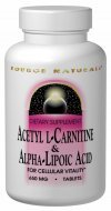 Source Naturals Acetyl L-Carnitine, & Alpha-Lipoic Acid 120 Tabs, 650 Mg by Source Naturals