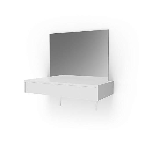 Vicco Schminktisch Alessia Weiß wandhängend mit Hocker und LED-Beleuchtung - Frisiertisch Kommode Spiegel +++ Schminkkommode mit großen Schubfächer und riesigen Spiegel +++