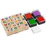 Moore: Ensemble de tampons alphabet en bois de qualité supérieure - 34 pièces de timbres de lettres majuscules avec 4 tampons encreurs de couleur