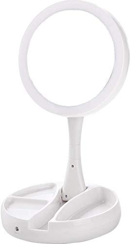 Espejo con luz LED Espejo de maquillaje Espejo plegable Espejo pequeño Dormitorio Escritorio Escritorio...