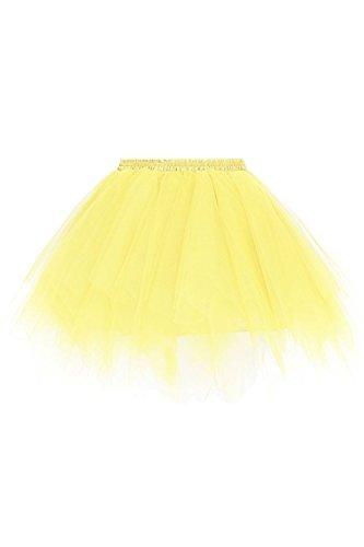 Kostüm Kleid Prinzessin Braut Bis - Tutu Damen Tütü Chiffon Rock Ballett Tutu Rock Gelb OneSize