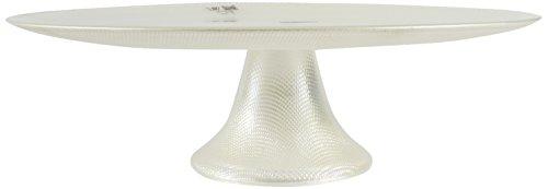 Luigi Bormioli 10055/02 Table avec pied Iris Perle Pastel verre, blanc, 33 cm, 4 pièces