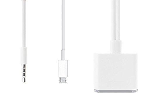 Ideal Dream Micro USB 5pin e AUX 3.5mm Jack a 30pin Dock Cavo Adattatore Converter Audio Musica per Docking Station Altoparlante