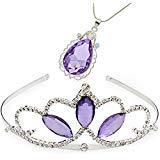 VINJEWELRY Halskette mit Anhänger Prinzessin Krone Sofia die erste Tiara und Magisches Amulett & Prinzessin Wassertropfen für Mädchen, Perfekter ()