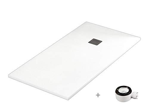 Plato ducha resina antideslizante textura pizarra Smooth Bricodomo 80x140 Blanco
