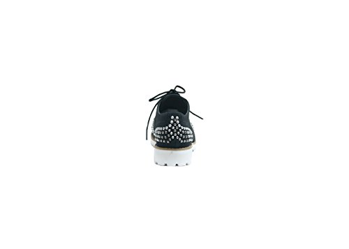 Justglam - Inglesine lacées avec / application de strass et de clous nouveau must-have collection made in Italy Noir