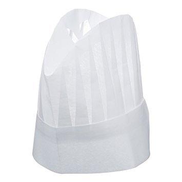 Kochmütze aus Papier, Größe: 23cm, Einheitsgröße mit Lasche zum Verstellen, 10 Stück