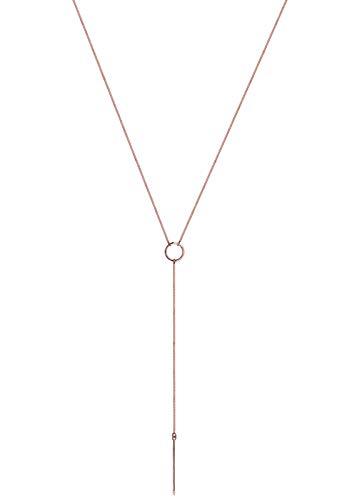 Elli Damen Halskette Y-Kette Kreis Geo Trend Minimal Modern in 925 Sterling Silber - 60cm Länge