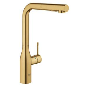 Grohe Essence New – grifo monomando fregadero L-caño ducha dual – Brushed Cool Sunrise
