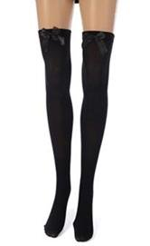 BFD stockings with bow. One pair of BFD thigh high stockings with lovely soft black satin bows. Ones size fits all and they are a comfortable fit and made of nylon.