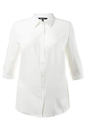 3/4 Ärmel Plus Size Bluse (Ulla Popken Damen Hemdbluse, 3/4-Arm, Weiß, 62/64)