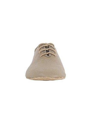 Rumpf chaussure de Jazz Basic I 1260 Cuir Chaussures de Danse Jazz Swing Ballet Lindy Gymnastique Sport Fitness Aerobic Yoga Pro Trainer semelle entières en daim noir, blanc, tan Tan / Beige