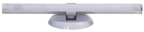 MÜLLER-LICHT 400161, LED Batterieleuchte mit Universeller Wand- und Tischhalterung inklusiv integriertem 2-Stufendimmer, 4 x AAA Batterien, Aluminium, 1 W, silber, 3 x 26.7 x 9 cm