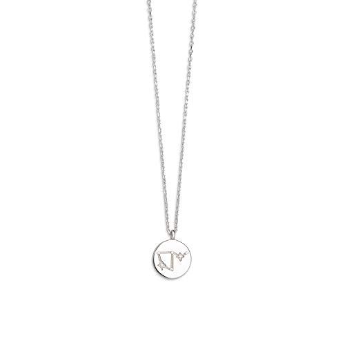 Xenox Damen-Halskette Sernzeichen Rising Sign 925er Sterlingsilber mit Zirkonia 45 cm (Waage)