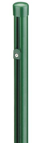 *GAH-Alberts 665104 Zaunpfosten für Maschendrahtzäune, mit verstellbaren Drahthaltern, zinkphosphatiert, grün kunststoffbeschichtet, Ø38 / 1250 mm*