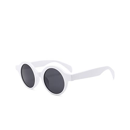 Jeewly Klassische Sportsonnenbrille, Round Sunglasses Women Small Round Sun Glasses Men Vintage Designer Eyeglasses White Red Ladies Sunglass UV400 White