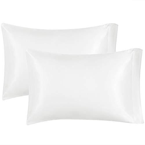 MIULEE 2er Set Künstliche Seide Kopfkissenbezug Faux Silk Kissenbezug kissenhülle Bettkissenbezug Pillowcase für Sofa Schlafzimmer Bett, 50 cm x 80 cm Weiß - Satin-kissenbezug-set