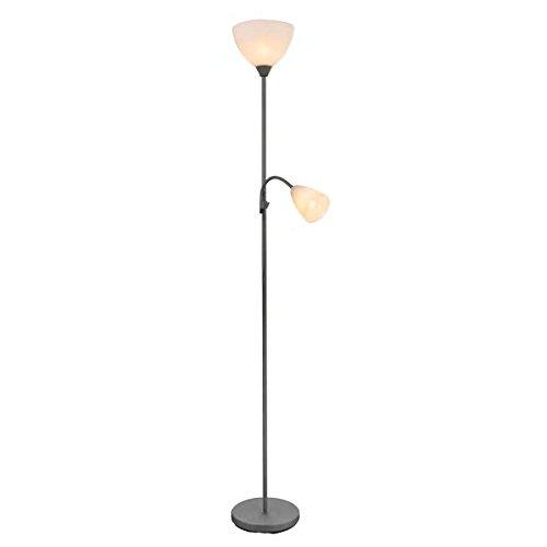Lámpara de pie con dos luces 1xE14 máx. 40W + 1xE27 máx. 60W. Incluye flexo lectura. Admite bombillas LED de rosca