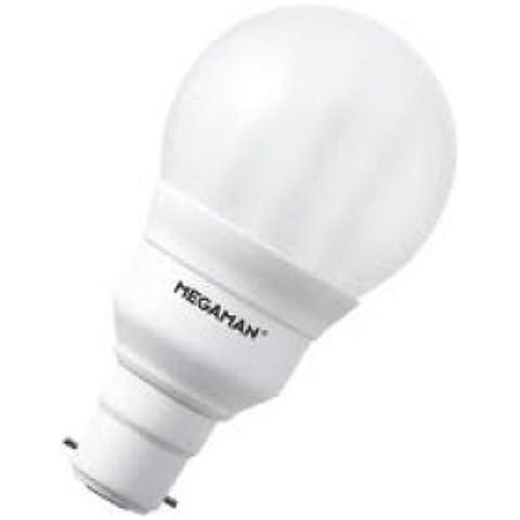 Lote de 3bombillas marca Megaman Ingenium fluorescente compacta/bajo consumo. B-22, pera esmerilado, 18Watt = 77Watt. Blanco cálido, vida