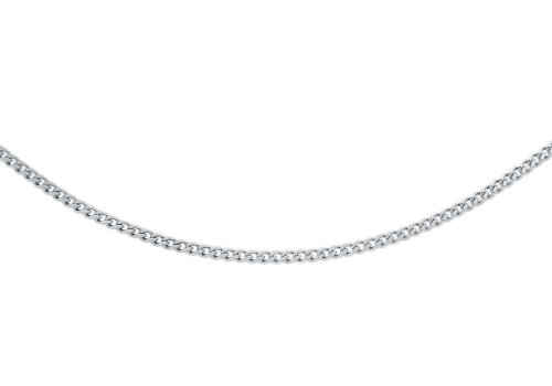 Carissima Gold Unisex 18 ct White Gold Diamond Cut Curb Chain of 41 cm/16 inch