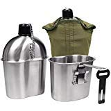 Goetland Edelstahl US Feldflasche Wasserflasche Trinkflasche 1L mit 0,5 L Becher Stofftasche für Camping Wandern Überleben