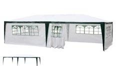 Pavillon pliable 3 x 6 m tente de jardin tente de fête   Blanc   SORARA   PE   Parois latérales / panneaux latéraux   Pour jardin terrasse marché camping festival imperméable Tonnelle
