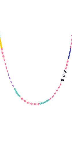 Mädchen bunte Perlenkette für beste Freunde von portugiesischer Marke - Premium-Qualität, einstellbare Länge, Regenbogenfarben (BFF (Beste Freunde für immer))