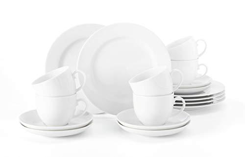 Seltmann Weiden 001.741310 Liane Kaffeeservice 18-teilig weiß   Set für bis zu 6 Personen  Serie Rondo  beinhaltet je 6 Frühstücksteller, Kaffeeober-und Untertassen, Hartporzellan