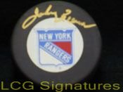 Signed Bower, Johnny (New York Rangers) New York Rangers Hockey Puck autographed