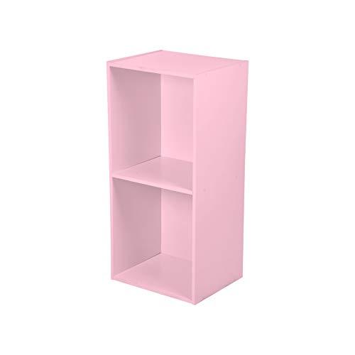 HOMEA Cube de Rangement 2 Niches, Panneaux de Particules, Rose Poudre, 34,4x29,5x67,6 cm