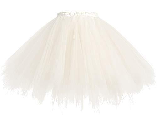 HomRain 1950 Petticoat Tutu Unterrock Underskirt für Rockabilly Kleid Champagne L