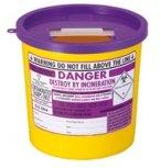 Contenitore per rifiuti citotossici taglienti, con coperchio, 2,5 l, diversi codici colore, viola