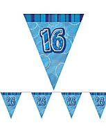 16TH BIRTHDAY BUNTING (NEW UNIQUE blue hol) 12FT LONG by Every-occasion-party-supplies (Supplies 16th Birthday Party)