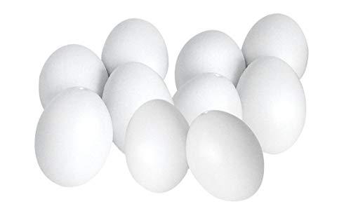 er 6cm Deko-Eier weiß Kunststoff Ostern Ei zum Bemalen ()