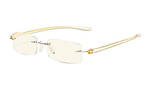 Eyekepper Computer lesen Brille,Blau Licht Filter Randlos Leser,UV-Schutz, Gold Rahmen Brauner Arm +1.75