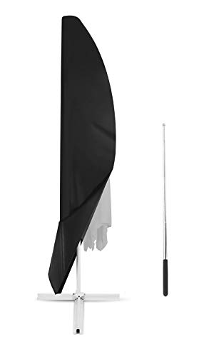 Dokon copertura per ombrellone impermeabile, fodera protettiva ombrellone, anti vento sole neve tessuto 420d oxford copertura ombrellone braccio laterale (265x40/70/50cm) - nero