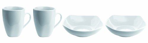 Mäser, Serie Cosmo, 2 Kaffeebecher + 2 Müslischalen, Porzellan Frühstücks-Set im 4er-Set
