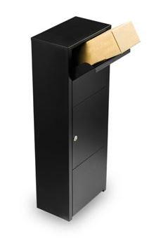 MEFA Paketpostkasten Hazel (477) Tiefschwarz RAL 9005 Standbriefkasten Briefe+Pakete Entnahme vorne Sicherheitsschloß
