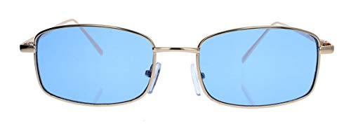 amashades Vintage Classics Trendige Damen Herren Sonnenbrille klein schmal flach rechteckig Metallrahmen gold farbige Gläser SM52 (Gold/Blau)
