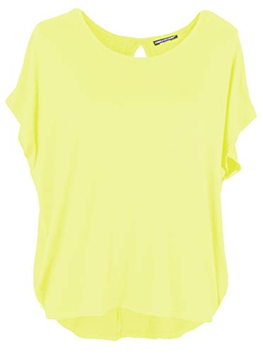 Gelbe Damen-shirt (Emma & Giovanni - Basic Sommer T-Shirt/Oberteile Kurzarm - Damen (Gelb, XL/XXL))