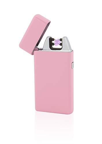 TESLA Lighter T05 Lichtbogen Feuerzeug, Plasma Double-Arc, elektronisch wiederaufladbar, aufladbar mit Strom per USB, ohne Gas und Benzin, mit Ladekabel, in Edler Geschenkverpackung, Pink