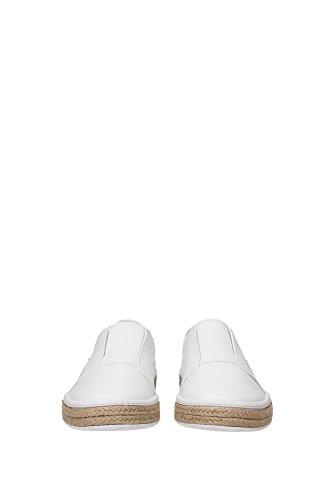 4D2947BIANCO Prada Pantoufle Homme Cuir Blanc Blanc