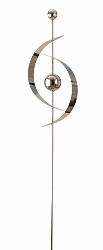 Moderne Garten Deko Gartenfigur Skulptur aus Edelstahl (H 51 cm) auf Stab Höhe 130 cm