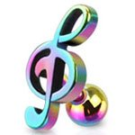 Rainbow Surgical Steel Treble Clef Music Note Upper ear cartilage tragus Helix earring