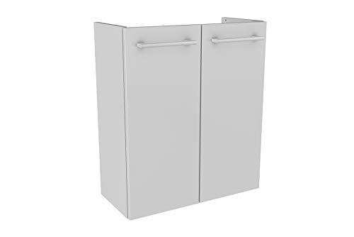 FACKELMANN Mini-Waschtischunterschrank LINO/Badschrank mit Soft-Close-System/Maße (B x H x T): ca. 52 x 60 x 24 cm/hochwertiger Schrank fürs Bad mit 2 Türen/Korpus: Weiß/Front: Weiß