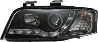 Audi A6 2001-2004 Black DRL Devil Eye R8 Style Head Lights Lamps Pair + Free Ultimate Styling Air Freshener